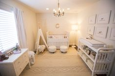 Instead of going with the typical pinks and purples that we tend to see in a baby girl's nursery, Lucinda chose to enhance the space with sweet and feminine accent pieces! | Laurel & Wolf |