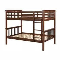 Harper & Bright Designs Espresso Twin Bunk Bed Over with Trundle Bed and End Ladder-SK000067AAP - The Home Depot Toddler Furniture, Bed Furniture, Furniture Movers, Small Space Living, Small Spaces, Pine Bunk Beds, Two Twin Beds, Twin Twin, Bunk Bed With Trundle