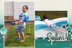 Splash! Digital Scrapbook layout using 4x6 card templates and Summer Splash Bundle.