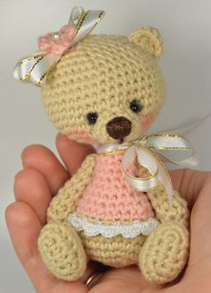 Beige Crochet Teddy Bear