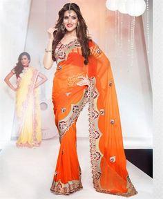 Splendorous Deep Orange Party Wear Saree [ADF28406] $159.88 - Buy fashion wear online, Buy Indian wear Online by A1designerwear.com