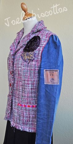 Lined wool jacket and denim sleeves, customised classic chic style, urban tailor, urban gypsy, JoeLesBiscottos Boho Chic, Style Boho, Nouveau Look, Style Classique, Herschel Heritage Backpack, Jeans, Backpacks, Etsy, Fashion