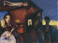 "Garry Shead D.H. Lawrence   ""Nightfall""  Oil on Board 1992    Garry Shead original painting titled ""Nightfall"","