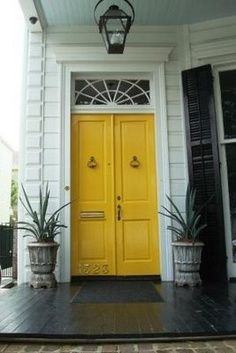 When we built our first house I just had to have a red door. I think yellow will… Porch Doors, Windows And Doors, Red Doors, Yellow Front Doors, Up House, Mellow Yellow, Bright Yellow, Blue Yellow, Closed Doors