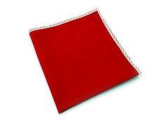 Guardanapo Vermelho com Renda 47x47cm em Algodão - 1 Peça - Guardanapo Vermelho com Renda 47x47cm em Algodao - 1 Peça -  Dom Gato