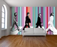 The Beatles come to life in this wallpaper design