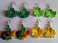 Crochet paso a paso aretes en Ideas Pop Top Crochet, Crochet Buttons, Crochet Motif, Crochet Flowers, Crochet Stitches, Crochet Jewelry Patterns, Crochet Earrings Pattern, Crochet Bracelet, Crochet Accessories