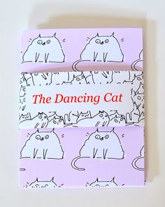 Cat Stationary Set of 4 Pink Cat Pattern by jamieshelman on Etsy, $20.00