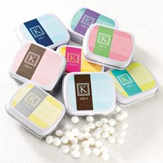 Greek Style Mint Tin Wedding Favor | #exclusivelyweddings (Mint to Be)