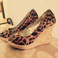 Cute Leopard Platforms New. Only worn 2x Shoes Platforms