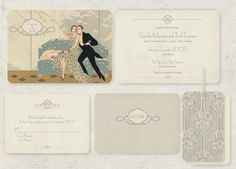 Art Deco Wedding Invitations - Save the Dates -  Vintage Theme Set of 100 The Waldorf