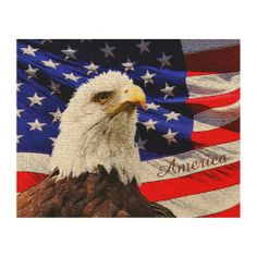 Rustic Eagle and American Flag Wooden Wall Art. Majestic Eagle gazing out to the sky with rustic American Flag behind him. Great Fathers Day Gift Ideas for Patriotic Dad.  How Patriotic Retirement Gifts. ALL Patriotic Gifts CLICK HERE: http://www.zazzle.com/littlelindapinda/gifts?cg=196904377583357091&rf=238147997806552929*/  ALL of Little Linda Pinda Designs CLICK HERE: http://www.Zazzle.com/LittleLindaPinda*/