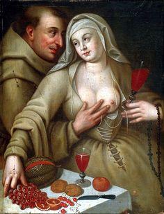 Bacchanal mit Mönch und Nonne, um 1600, Holland, Künstler unbekannt