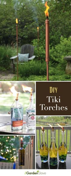 DIY Tiki Torches • Lots of Ideas and Tutorials on how to make your own tiki torches! #tikitorches #DIY #diytikitorches #diygardenprojects #diygardenideas #diypatioideas #diybackyardideas