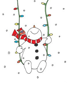 Snowman Christmas Lights Swing (Free Dearie Dolls Digi Stamps) Not just solemnly, even clever will undoubtedly be there for Christmas. Since even the gentle string Christmas Doodles, Christmas Clipart, Christmas Snowman, Christmas Crafts, Christmas Balls, Christmas Christmas, Watercolor Christmas Cards, Christmas Drawing, Christmas Paintings