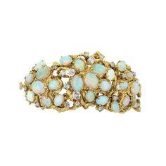 Nugget Gold, Opal and Diamond Bangle Bracelet. Photo: Courtesy Doyle New York