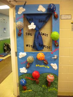 Classroom door decoration. The sky is the limit with Mrs. _______
