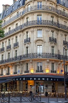 Cafe Francais, Place De La Bastille, Paris I've always wanted to live in an apartment above a cafe in France. A dream.Hopefully not to distant. Oh The Places You'll Go, Places To Travel, Places To Visit, Travel Things, Paris Travel, France Travel, Paris France, France Cafe, France Europe