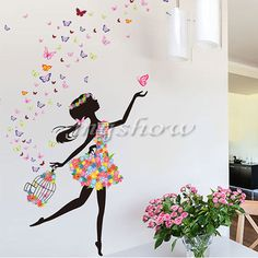 Girl Flower Removable Wall Art Sticker Vinyl Decal DIY Room Home Mural Decor New | eBay