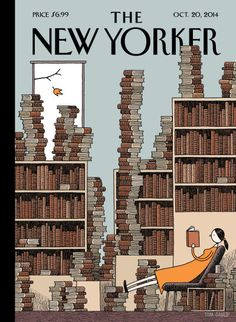 "Tom Gauld's ""Fall Library"" New cover The New Yorker, artwork Tom Gauld read here more about this cover. Art Editor Françoise Mouly (read here about her book 'Blown Covers' New Yorker Covers You Were Never Meant to See) Creative director Wyatt Mitchell The New Yorker, New Yorker Covers, I Love Books, Good Books, Books To Read, Reading Books, Capas New Yorker, Graphic Design Magazine, Magazine Design"