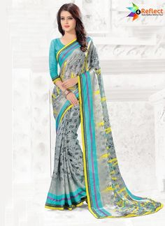 BREATHTAKING TURQUOISE GEORGETTE CASUAL PRINTED SAREE