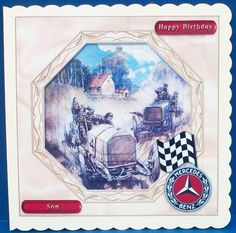 Merceded 1903 on Craftsuprint designed by June Young - made by Cheryl French - Printed onto glossy photo paper. Attached base image to 8x8 card stock using ds tape. Built up image with 1mm foam pads. - Now available for download!