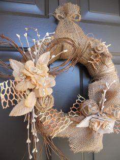Burlap Wreath ~ Burlap Flowers ~Twigs Jute  by Pebble Creek Wreaths