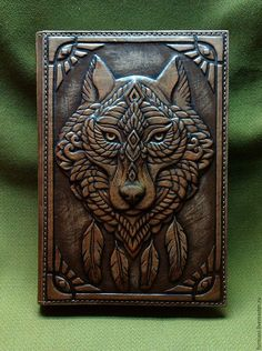 Wolf personalized leather journal cover leather notebook cover Embossed leather notebook leather journal Journals for men Book cover Leather Carving, Leather Art, Leather Books, Leather Tooling, Leather Book Covers, Leather Cover, Leather Notebook, Leather Journal, Journal Covers