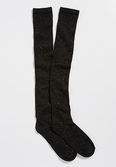super soft boot socks with metallic shimmer in black | maurices