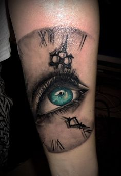 eye on the time, realistic tattoo by 2nd Face Tattoo