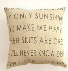 Modernized You are My Sunshine Pillow by cayteelynn on Etsy, $19.95