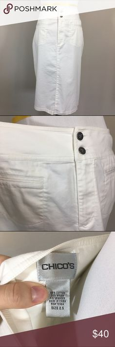 🆕Chico's White Pencil Skirt Amazing stretch! In excellent condition with some loose threading around the hems and buttons. I would recommend nude under garments as this would show anything other than nude. Pinned to fit mannequin. Measurements upon request. Chico's size 2.5= 14 Chico's Skirts Pencil
