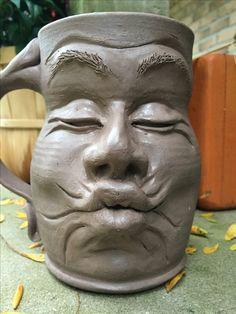 Slab Pottery, Pottery Mugs, Ceramic Pottery, Proportion Art, Face Jugs, Pottery Handbuilding, Clay Faces, Funky Art, Ceramics Projects