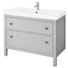 IKEA - HEMNES / RÄTTVIKEN, Sink cabinet with 2 drawers, gray, , Smooth-running and soft-closing drawers with pull-out stop.You can easily see and reach your things Bathroom Mixer Taps, Bathroom Sink Cabinets, Bathroom Furniture, Ikea Bathroom Vanity, Bathroom Sinks, Ikea Sink Cabinet, Narrow Bathroom Vanities, Black Bathroom Sink, Ikea Bathroom Storage