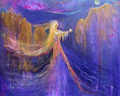 "THE OFFERING, 30"" X 24"" ACRYLICS ON CANVAS #GODDESS #ORBS #SPIRIT #SEDONA"
