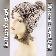Beautiful hat with Pom Pom and buttons Beautiful hat with Pom Pom and buttons.,. Available in multiple colors ... Winter staple for any closet ! Accessories Hats