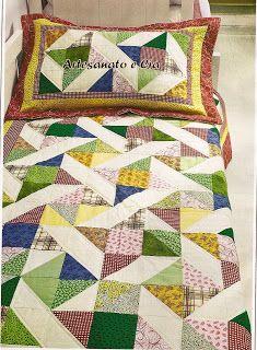 Artesanato e Cia : Porta-travesseiro e colcha em patchwork (C/ blocos...