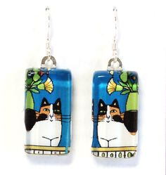 Calico Cat Glass Earrings in Teal Blue... by SusanFayePetProjects, $18.00