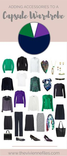 How to Choose Business Accessories for a work capsule wardrobe in a navy, green, and purple color palette