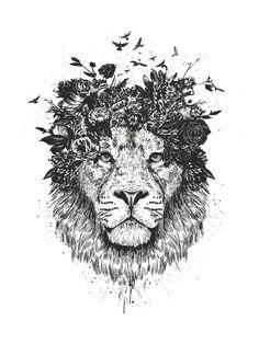 FLORAL LION (BW)
