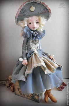 Купить Патриция - серый, барышня, коллекционная кукла, оригинальный подарок, нежность, ЛивингДолл, сатин, шифон