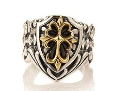 FLORAL CROSS SHIELD RING TWO-TONES STERLING SILVER 925