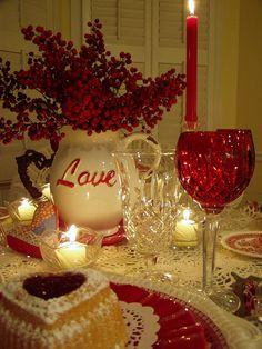 Hearts:  Romantic #St. #Valentine's #Day tablescape.