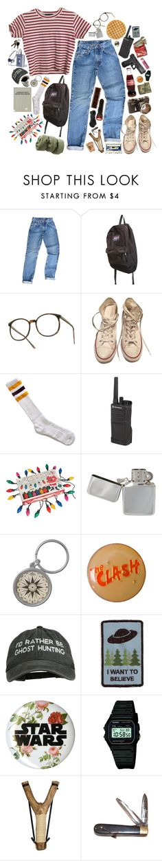 """sometimes people don't really say what they're really thinking"" by abigialtheturtle ❤ liked on Polyvore featuring JanSport, Converse, American Apparel, Motorola, Chapstick, Casio, Retrò and StrangerThings"