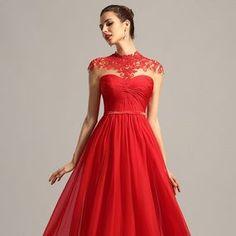 Vášnivé červené šaty s čipkou S01399