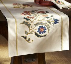 Mila Suzani Embroidered Table Runner #potterybarn