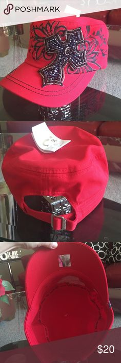 Bright red cadet hat With cross embellishment. New with tag Other