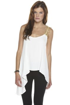 Gold Shoulder Detail and Flowing Hem Has an Updated Grecian Feel!