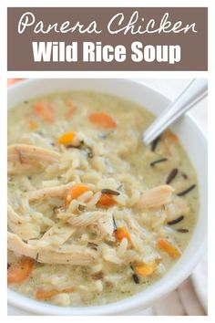 This Chicken and Wild Rice Soup tastes just like Panera's but you don't have to leave your house! Creamy soup with wild rice, chicken, and veggies. The whole family will love this one! #wildricesoup