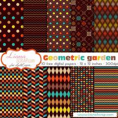 Free digital paper pack – Geometric Garden Set